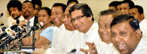 Government MPs in jubilant mood addressing a news conference, criticising the opposition walkout