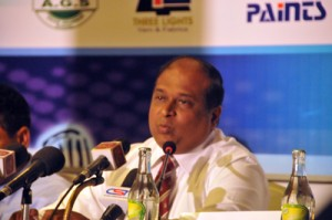 Harsha Peiris the Chief Executive Office of the CCC School of Cricket addresses the media
