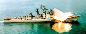 A missile being fired from an Indian naval vessel. Pic courtesy Indian Navy