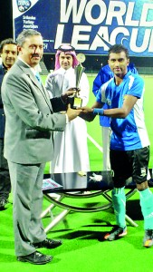Nuwan with the Best Player of the Tournament trophy