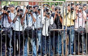 Press photographers in Mumbai, India (Reuters)