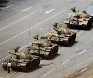 A man blocks a line of tanks in Beijng after Chinese forces crushed a pro democracy demonstration in Tiananmen Square in 1989