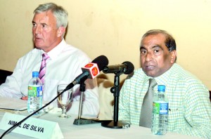 Nimal de Silva (right) and Peter Crone at the media briefing.