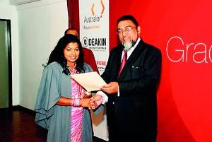 Vidyajyothi Prof. Rezvi Sheriff, Senior Professor of Medicine, University of Colombo, Consultant Physician and Nephrologists awarded the Most Outstanding student 2012 Award to Preethi Kumari
