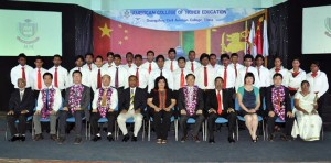 President GCAC   Prof. Wu  Wanmin and Mrs. Sherryn Yaseen CEO of ACHE pose for official photograph with current students. In the picture from left RHM Piyasena Registrar ACHE, Mr. Vincent Lin, Mr. Xu Dean of Business Management, Mr. Peian Vice Dean Aircraft Engineering,  Mr. Rohana Nanayakkara Program Manager, Mrs. Sherryn Yaseen Mangalagama CEO of ACHE, President of GCAC Prof. Wu  Wanmin, Mr. Suresh Yaseen Director Operations ACHE, Dr. Sylvia Li Director International Affairs GCAC, Mr. Lieshu Vice Dean Flight Services, Dr. P Sirimanne Director studies ACHE