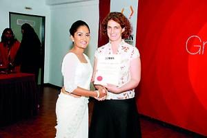 Ms.Harriet Gardner Assistant Director British Council presenting certificates
