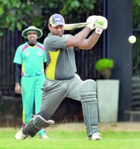 BRC batsman Hashan Gunatilleke in action against the Chilaw Marians yesterday. - Pic by Amila Gamage