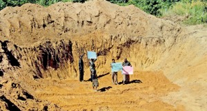 Illegal: Villagers protest against the silica soil mining
