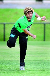 Hard to pick: Lasith Malinga shows his record-breaking style against the Perth Scorchers.