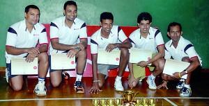 "MBA Division 'B"" champs, (from left): Lasintha Ferdinando, Lasitha Ranasinghe, Prabash Indrajith, Nadun Hettiarachchi and Nalin Nanayakkara (Captain). Absent: Damitha Samaranayake, Raj Abubucker and Pradeep Welagedara (Coach)"