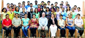 BMS commenced the 8th batch of Bachelors degree in Business programmes recently and UK University lecturers, Dr. Guy Brown and Ms. Claire Hoy who conducted the induction lectures are seen here with the students.