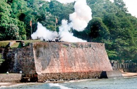 A rehearsal at Fort Frederick in Trincomalee