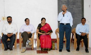 HEALTH MATTERS: Vice-Chancellor of NTR University of Health Sciences I.V. Rao speaking after inaugurating the MCI's Regional Centre for Medical Education Technology at Andhra Medical College in the city on Thursday. AMC Principal N. Kalpana Subrahmanyam, KGH Superintendent M. Madhusudhana Babu (second from left) are seen. Photo: K.R. Deepak