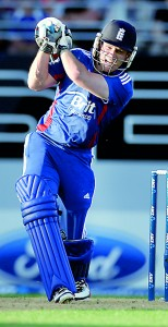 England's Eion Morgan who top scored with 46 bats against new Zealand during the Twenty20 match played at Eden Park in Auckland.    - AFP