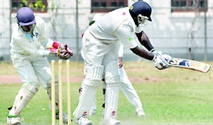 Royal's Hashen Ramanayake is clean bowled by a Wesley spinner.  - Pic by Ranjith Perera.