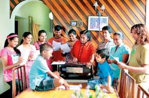 Music running in the family: Victor Ratnayake with his  children and grandchildren