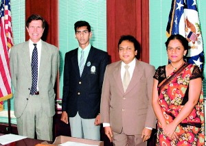 Rouvith Gorero from Lyceum International Nugegoda becomes Scholarships for USA's 90th student to USA  in 2008 and Robert O. Blake Jr. (Former US Ambassador to Colombo) Mr.Mohanlal Gorero (MD Lyceum Schools) and Mrs Priyanthi Dissanayake (MD SUSA) join to celebrate