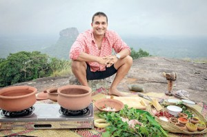 Cooking up a traditional meal atop a rock with Sigiriya in the background for the TV series  'My Sri Lanka'