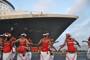 Picture shows a group of Kandyan dancers and drummers welcoming the ship.
