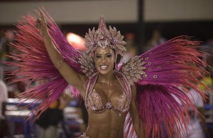 Drum queen Gracyanne Barbosa dances during the first night of the annual Carnival parade in Rio de Janeiro's Sambadrome (Reuters)