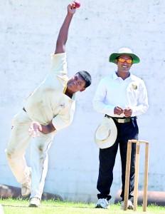 Ananda spinner Sammu Ashan who bagged a fifer in action at Ananda Mawatha yesterday.  -Pic Ranjith Perera