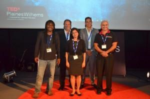 Participants – Pic from (left)– Jose Therese, Graham Hill, Chad Le Clos, Santosh Menon and  [centre] Viti Kothari - Curator, TEDxPlainesWilhems