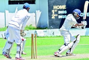 Chilaw Marians batsman Anjelo Jayasinghe bowled by SLPA bowler Shanuka Dissanayake. Pic by Ranjith Perera