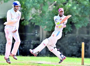 BRC batsman Malith Cooray in action.  Pic by Amila Gamage