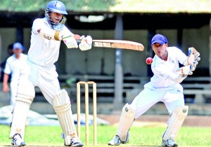 Josephian opener Dylan Fernandopulle, who made 35, cuts this one to the fence.  - Pic. Amila Gamage