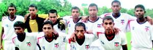 The Thunders team (Sitting L - R) Sanjeewa , Suranga Lakmal, Amila Sandaruwan, Sampath, Patthinige (Captain).Standing (L-R)Chathuranaga, Louthes, Mahesh Jayasinghe,Bandhika Kumara, Niroshan and Fernando.