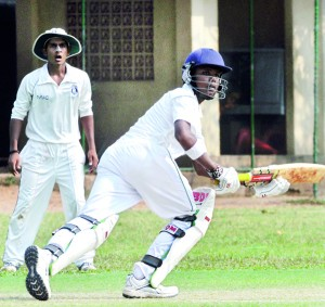 St. Benedict's Janitha Gunathilleke in hunt for runs against St. Joseph's at Darley Road last weekend.  - Pic by Ranjith Perera