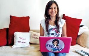 Malini Agarwal, blogger-in-chief of missmalini.com, in her living room in Mumbai (REUTERS)