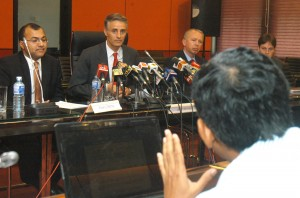 A reporter asks a question at an IMF briefing in Colombo. Pic by Nilan Maligaspe