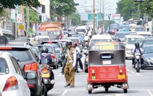 Rush-hour traffic on any given weekday in the city.  Pic by Hasitha Kulasekera