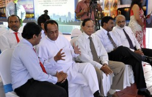 Dr. Nalaka Godahewa, Chairman Colombo Land and Development Company (CLND) in conversation with Minister Lakshman Yapa Abeywardena at the launch of the revamping of Liberty Plaza by CLND. Pic by Susantha Liyanawatte