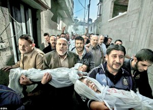 The winners of the World Press Photo Awards, one of photojournalism's most prestigious contests, were announced yesterday, issuing awards in nine categories to 54 photographers of 32 nationalities. The overall winner was Swedish photographer Paul Hansen for his picture of two Palestinian children killed in an Israeli missile strike being carried to their funeral. 'The strength of the pictures lies in the way it contrasts the anger and sorrow of the adults with the innocence of the children,' said jury member Mayu Mohanna of Peru. 'It's a picture I will not forget.' (Daily Mail, London)