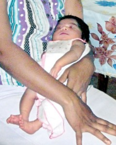 The mother and infant are being detained at the Ratnapura Hospital. Pix by Athula Devapriya