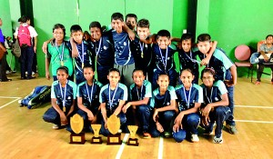 The champion Lyceum girls and boys under 15 badminton teams