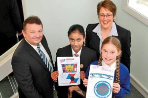 Angelika Wimalasooriya (second from left) displays her winning design