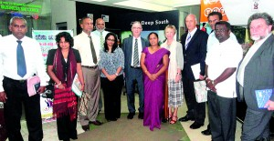 French, British and German diplomats with officials in Hambantota