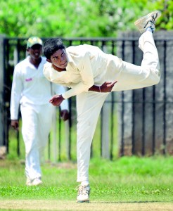 St. Sebastian's left-arm spinner Premesh Fernando who took six Wesley scalps in action.      - Pics by Amila Gamage