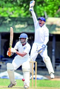 St. Anthony's wicketkeeper successfully makes an lbw appeal against a Josephian batsman at Darley Road. However St. Joseph's went on to turn the game around and snatch the victory. - Pic by Amila Gamage