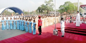 Muslim,Tamil and Sinhalese schoolchildren sing the national anthem at last year's Independence Day celebrations