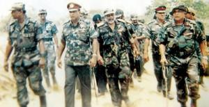 Operation Balavegaya: Marching to the Elephant Pass camp along with General Waidyaratne, General Kobbekaduwa and Brigadier Wimalaratna