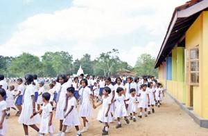 Brand new school: Children walk around the grounds