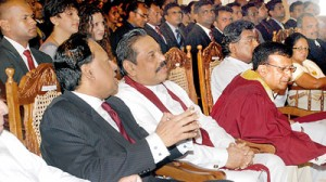 President Rajapaksa seen with Minister Amunugama and Trinity College Principal. Pic by M.D. Nissanka