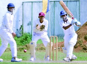 Shehan Kahandugoda who made an unbeaten 80 to save his side in action.  Pictures by Ranjith Perera