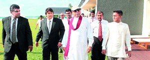 Pic shows Economic Development Minister Basil Rajapaksa at the hotel with officials including Sanjeev Gardiner, Chairman of the Galle Face Hotel Group.