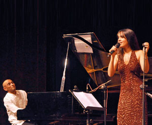 Complete mastery: Dinuk at the piano accompanying Sumudu Jayatilake at last Sunday's concert. Pic by Indika Handuwala