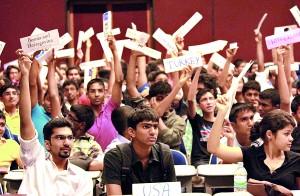 Student delegates at practice debate